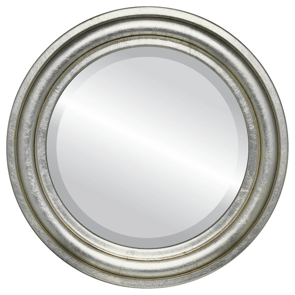 Beveled Mirror - Philadelphia Round Frame - Silver Leaf with Brown Antique