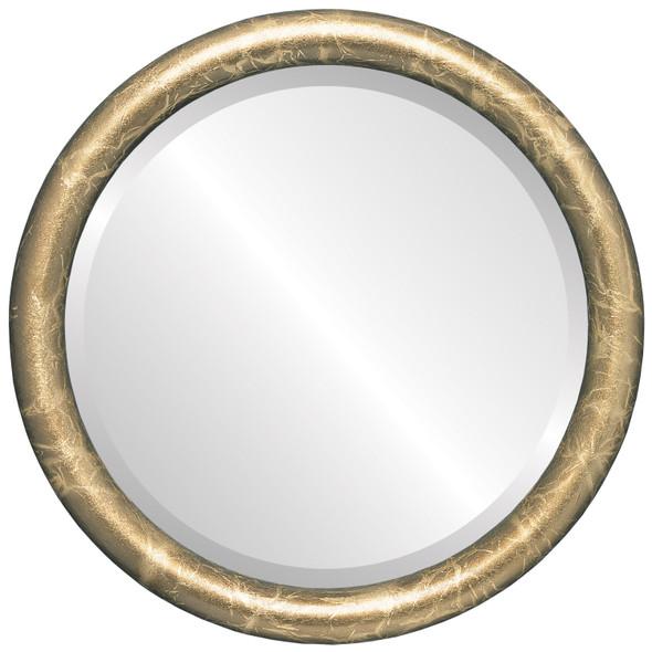 Pasadena Framed Round Mirror - Champagne Gold