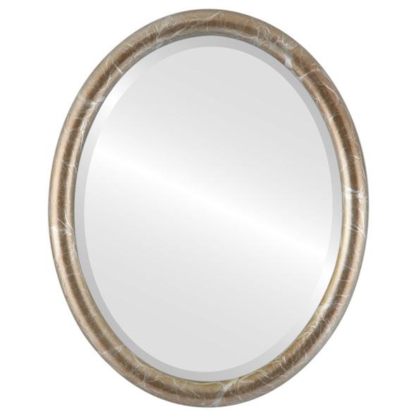 Beveled Mirror - Pasadena Oval Frame - Champagne Silver