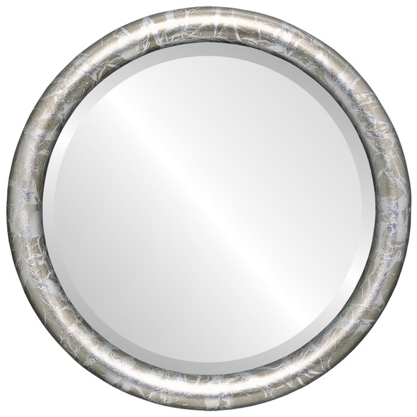 Bevelled Mirror - Pasadena Round Frame - Champagne Silver