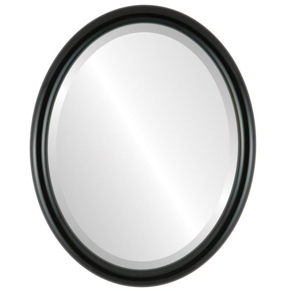 Bevelled Mirror - Pasadena Oval Frame - Gloss Black