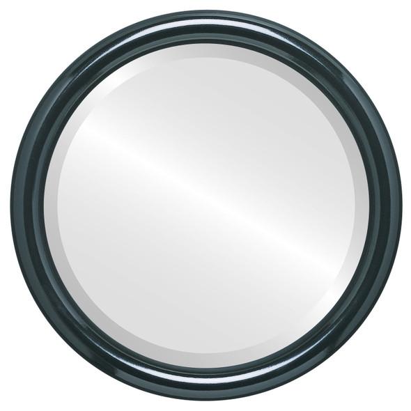 Bevelled Mirror - Pasadena Round Frame - Gloss Black