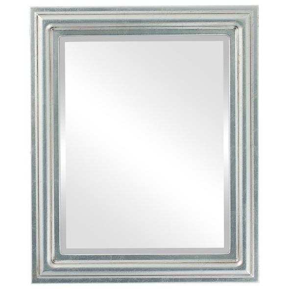 Beveled Mirror - Philadelphia Rectangle Frame - Silver Leaf with Brown Antique