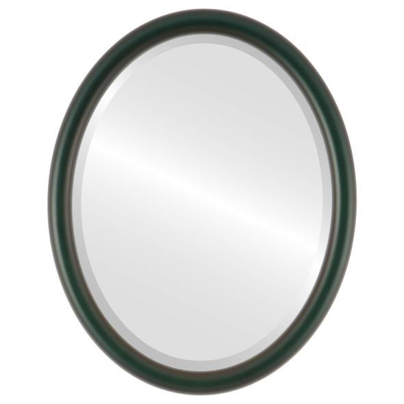 Bevelled Mirror - Pasadena Oval Frame - Hunter Green