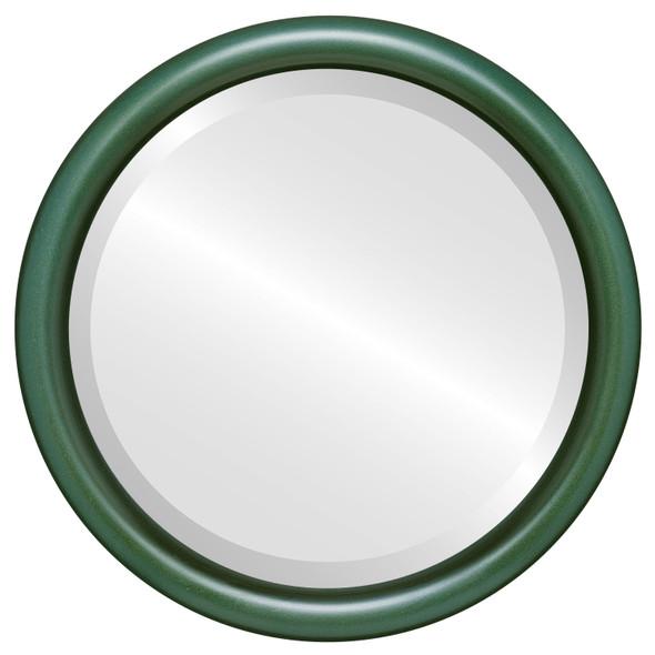 Bevelled Mirror - Pasadena Round Frame - Hunter Green