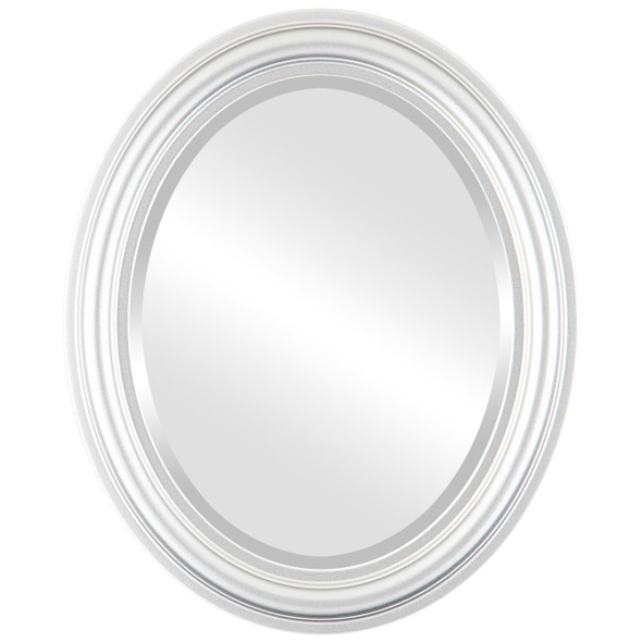 Beveled Mirror - Philadelphia Oval Frame - Silver Spray