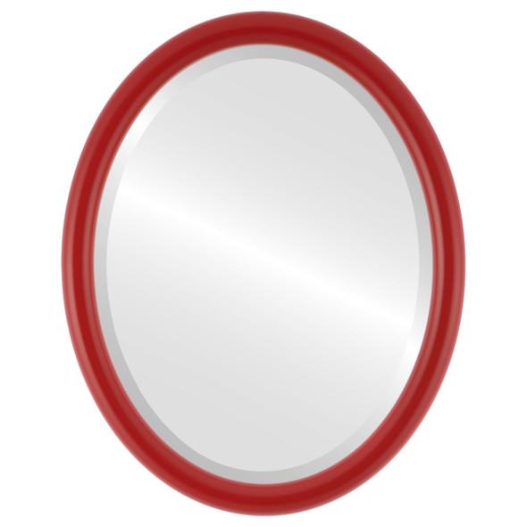 Pasadena Framed Oval Mirror - Holiday Red