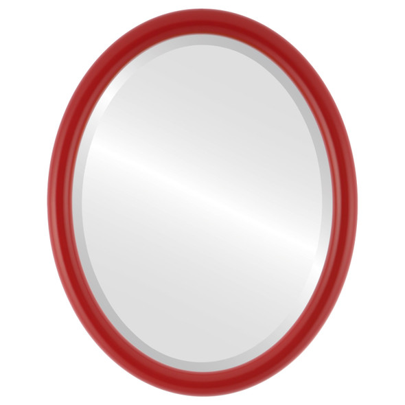 Bevelled Mirror - Pasadena Oval Frame - Holiday Red