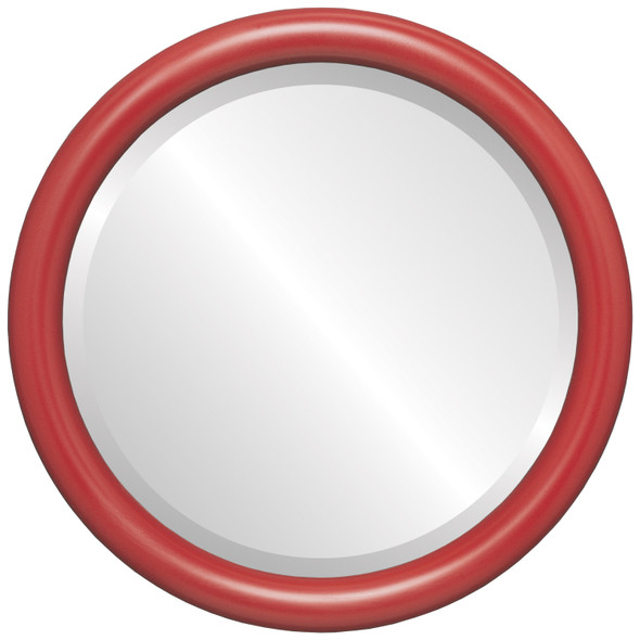 Bevelled Mirror - Pasadena Round Frame - Holiday Red