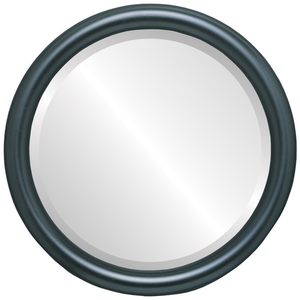 Bevelled Mirror - Pasadena Round Frame - Matte Black