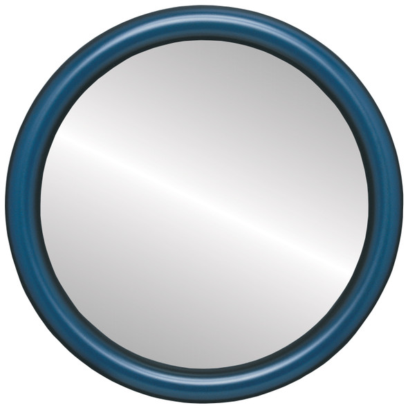 Beveled Mirror - Pasadena Round Frame - Royal Blue
