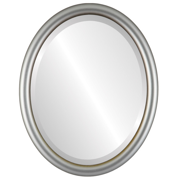 Bevelled Mirror - Pasadena Oval Frame - Silver Shade