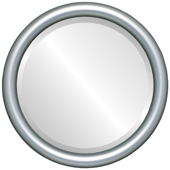 Bevelled Mirror - Pasadena Round Frame - Silver Shade