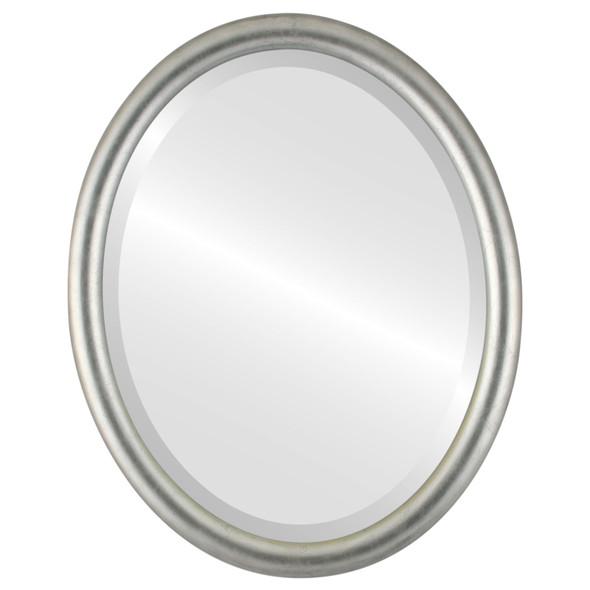Bevelled Mirror - Pasadena Oval Frame - Silver Leaf with Black Antique