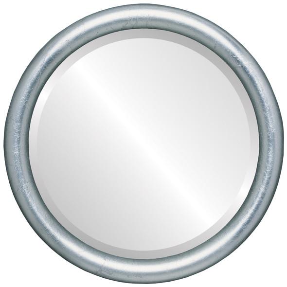 Bevelled Mirror - Pasadena Round Frame - Silver Leaf with Black Antique