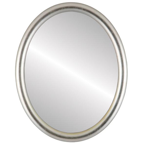 Beveled Mirror - Pasadena Oval Frame - Silver Leaf with Brown Antique