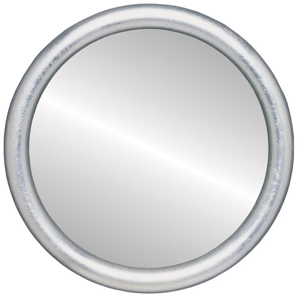 Beveled Mirror - Pasadena Round Frame - Silver Leaf with Brown Antique