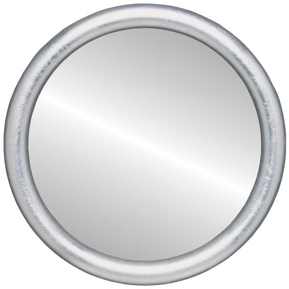 Flat Mirror - Pasadena Circle Frame - Silver Leaf with Brown Antique
