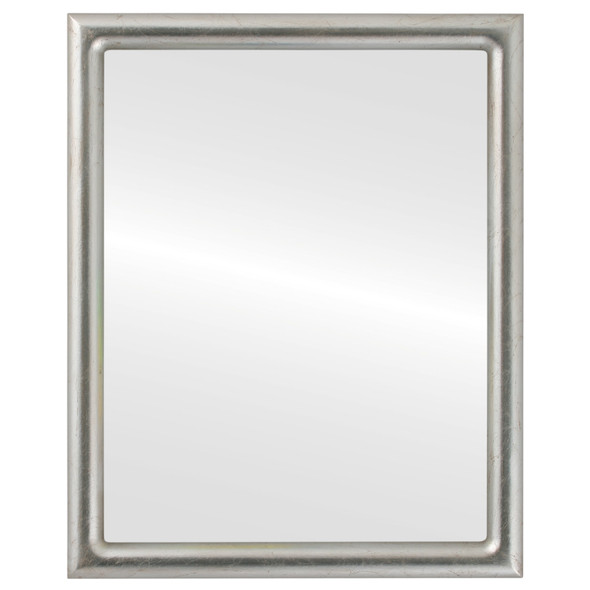 Beveled Mirror - Pasadena Rectangle Frame - Silver Leaf with Brown Antique