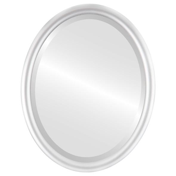 Bevelled Mirror - Pasadena Oval Frame - Silver Spray