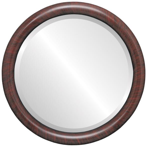 Bevelled Mirror - Pasadena Round Frame - Vintage Cherry