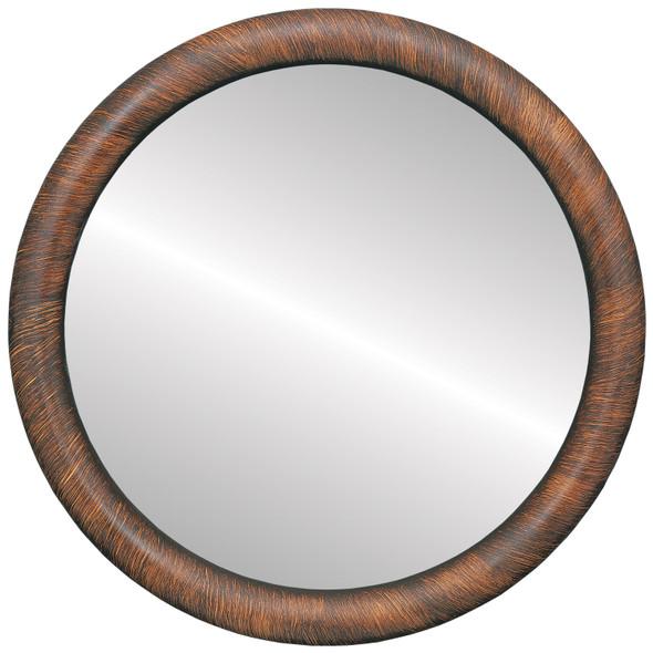 Flat Mirror - Pasadena Circle Frame - Vintage Walnut