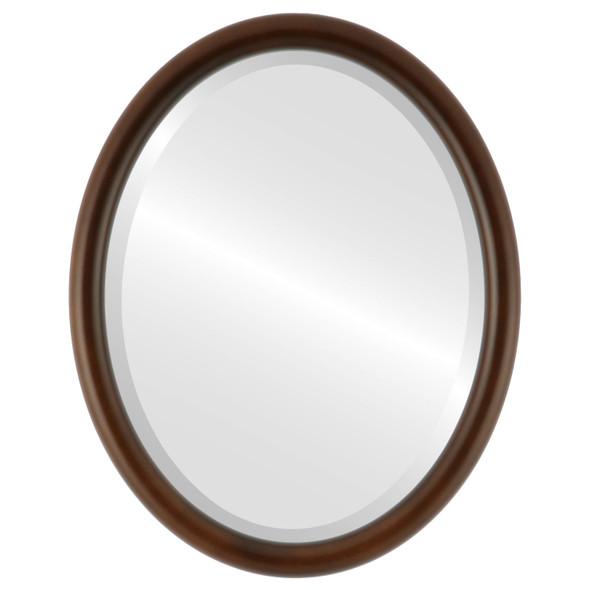 Bevelled Mirror - Pasadena Oval Frame - Walnut