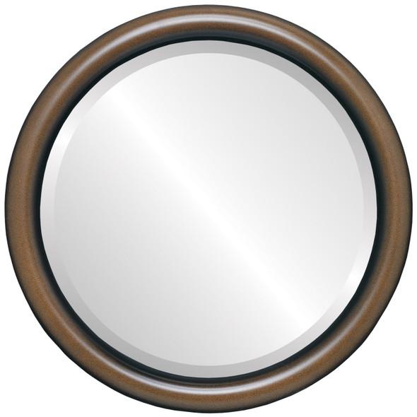 Bevelled Mirror - Pasadena Round Frame - Walnut