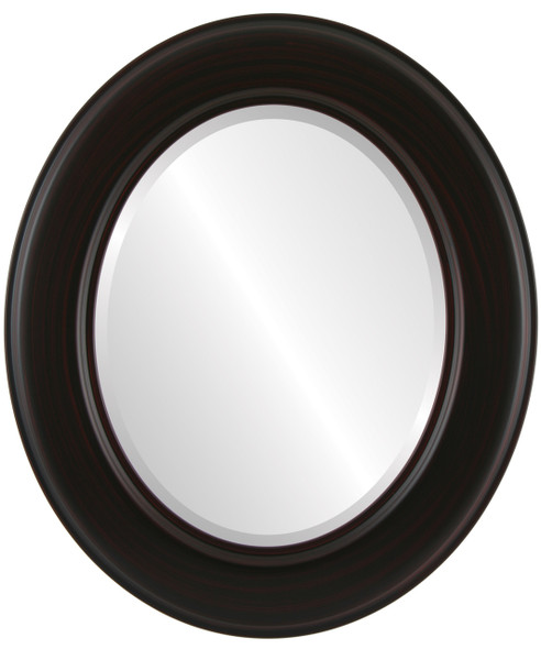 Beveled Mirror - Marquis Oval Frame - Black Cherry