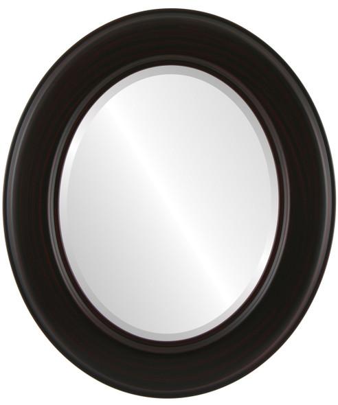 Beveled Mirror - Marquis Oval Frame - Black Cherry