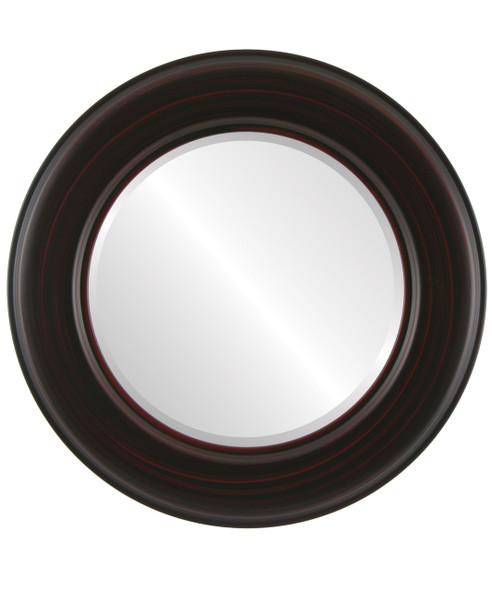 Beveled Mirror - Marquis Round Frame - Black Cherry