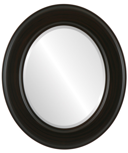Beveled Mirror - Marquis Oval Frame - Black Walnut