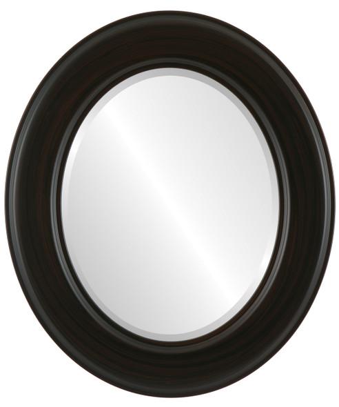 Beveled Mirror - Marquis Oval Frame - Black Walnut