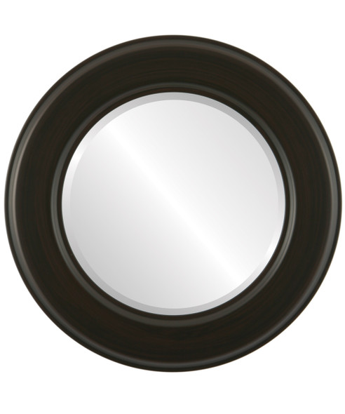 Beveled Mirror - Marquis Round Frame - Black Walnut