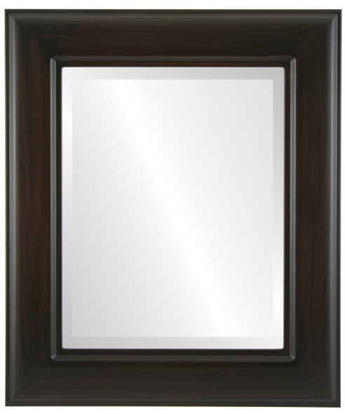 Beveled Mirror - Marquis Rectangle Frame - Black Walnut