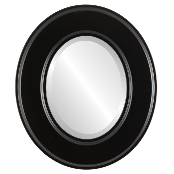 Beveled Mirror - Marquis Oval Frame - Matte Black