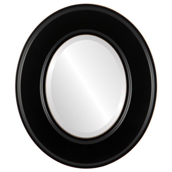 Beveled Mirror - Marquis Oval Frame - Rubbed Black