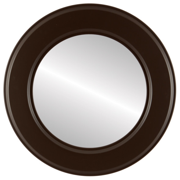 Beveled Mirror - Marquis Round Frame - Stone Brown