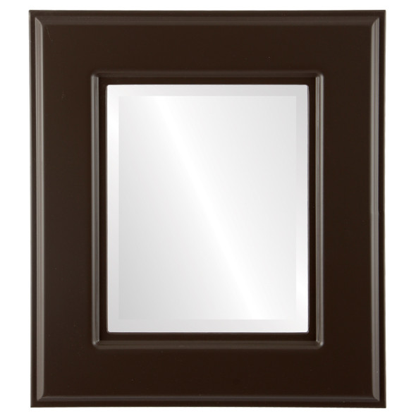 Beveled Mirror - Marquis Rectangle Frame - Stone Brown