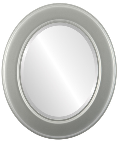 Beveled Mirror - Marquis Oval Frame - Bright Silver
