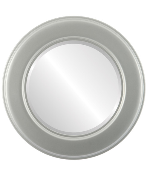 Beveled Mirror - Marquis Round Frame - Bright Silver