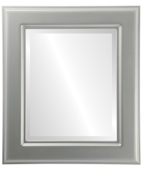 Beveled Mirror - Marquis Rectangle Frame - Bright Silver