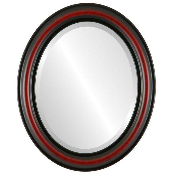 Beveled Mirror - Philadelphia Oval Frame - Vintage Cherry