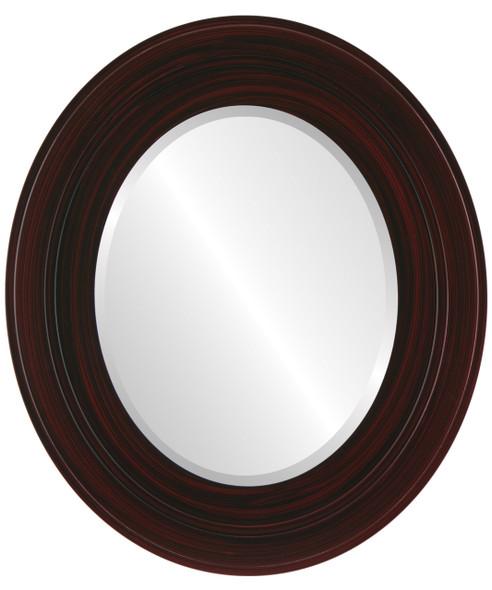 Beveled Mirror - Palomar Oval Frame - Black Cherry