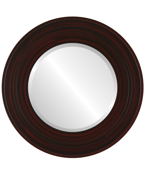 Beveled Mirror - Palomar Round Frame - Black Cherry