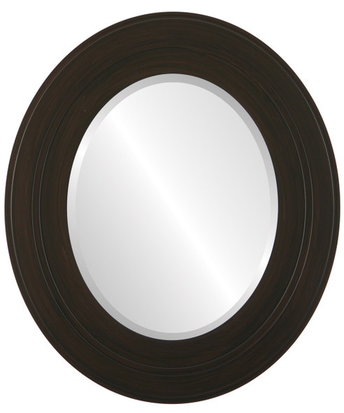 Beveled Mirror - Palomar Oval Frame - Black Walnut