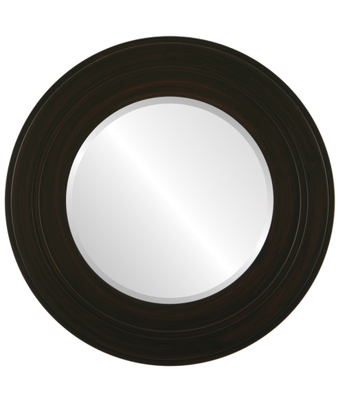 Beveled Mirror - Palomar Round Frame - Black Walnut