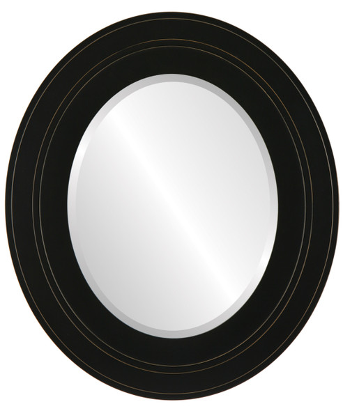 Beveled Mirror - Palomar Oval Frame - Rubbed Black
