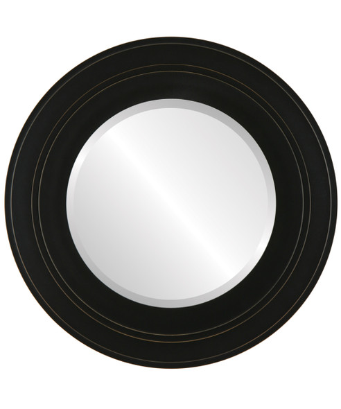 Beveled Mirror - Palomar Round Frame - Rubbed Black