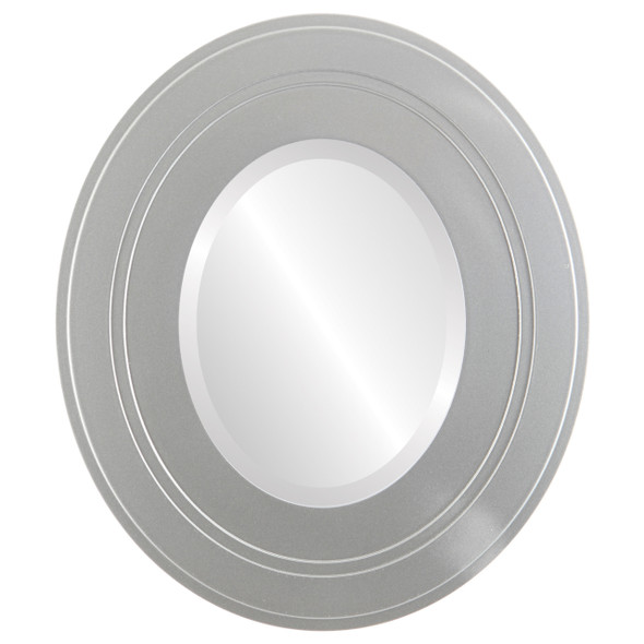 Beveled Mirror - Palomar Oval Frame - Bright Silver